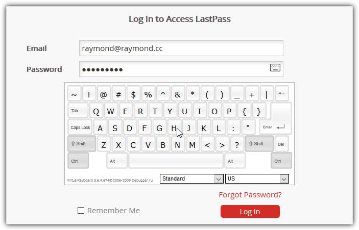 экранная клавиатура Lastpass