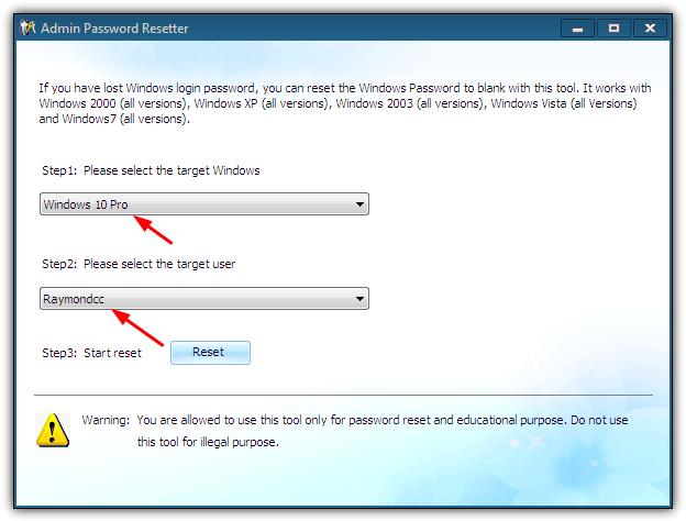 liveboot сброс пароля windows 10