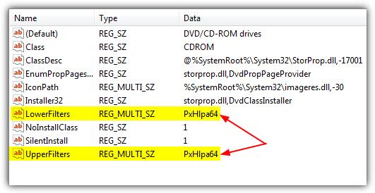 Запись реестра нижних и верхних фильтров