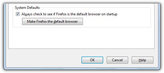 сделать браузер Firefox по умолчанию