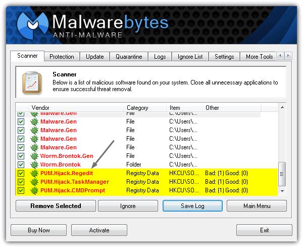 Malware Bytes Anti-Malware PUM Hijack