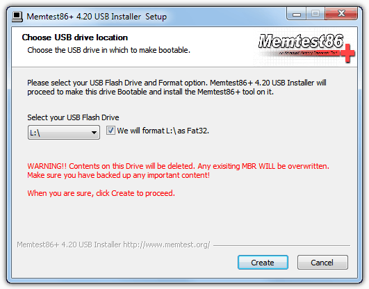 Memtest86 + USB-установщик