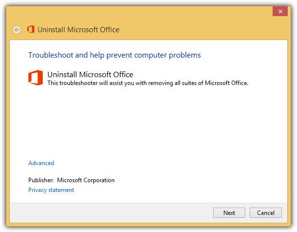 Microsoft исправить это удалить офис