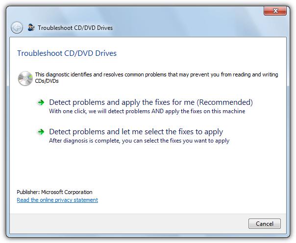 Microsoft Fixit для устранения неполадок дисков CD