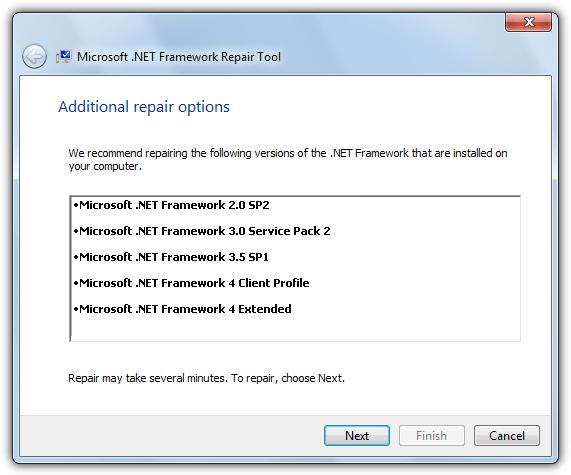 инструмент для восстановления Microsoft .NET Framework полный ремонт