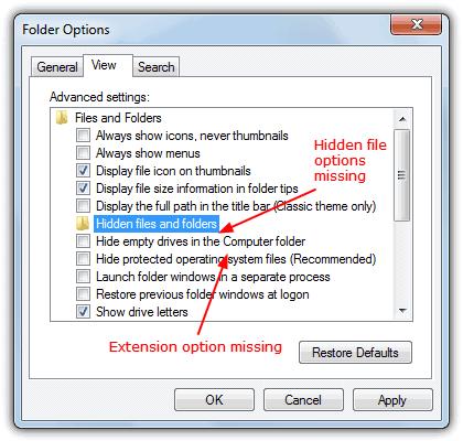 Отсутствуют расширения для известных типов файлов