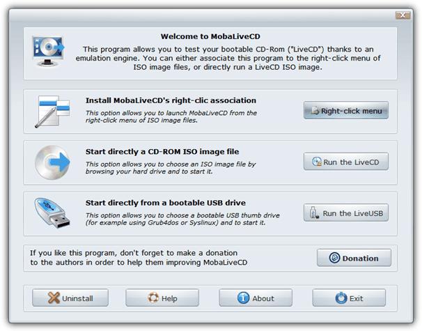 Загрузите ISO-файл с помощью mobalivecd