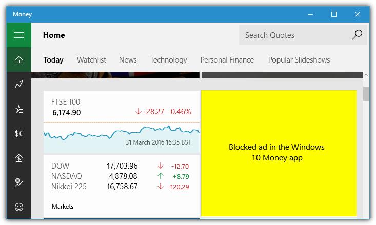 Приложение Windows 10 money заблокировало рекламу