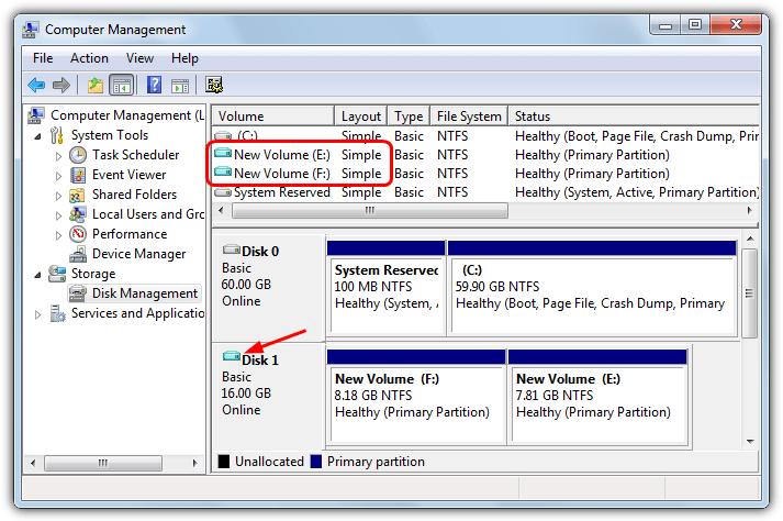 смонтированный VHD в управлении дисками