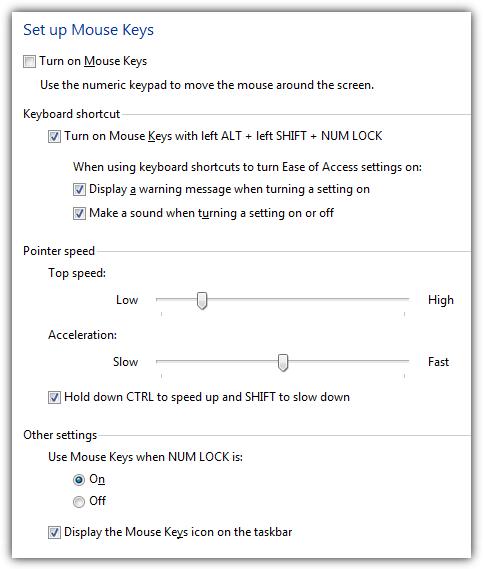 Windows Mouse Keys