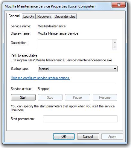 Техническое обслуживание Mozilla
