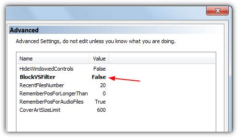 mpc отключить blockvsfilter