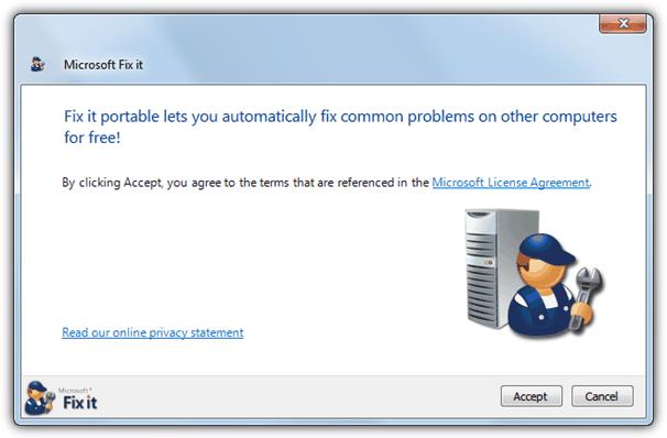 Microsoft исправить это портативный