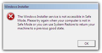 Служба установщика Windows недоступна в безопасном режиме