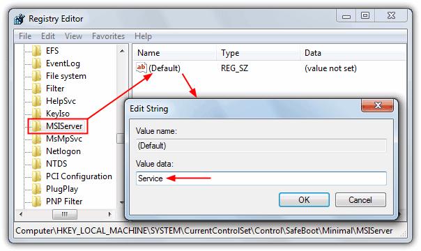 """safemsi """"src ="""" https://img.raymond.cc/blog/wp-content/uploads/2009/10/safemsi.png """"/></p> <p>Просто запустите программу, и появится всплывающее окно с сообщением, что она включена. Его можно запустить в безопасном или обычном режиме, и хотя оно было сделано еще в 2005 году, оно все еще работает для более новых операционных систем, поскольку созданные разделы реестра никогда не менялись.</p> <p><strong>Скачать SafeMSI</strong></p> <p>В качестве альтернативы, просто следуйте инструкциям ниже, процедура для Windows XP, Vista, 7 и 8 одинакова:</p> <p>1. Нажмите Win + R, введите regedit и нажмите ОК.</p> <p>2. Перейдите в следующее место в редакторе реестра:</p> <p>HKEY_LOCAL_MACHINE  SYSTEM  CurrentControlSet  Control  SafeBoot  Minimal </p> <p>3. Щелкните правой кнопкой мыши на Minimal и выберите New -> Key и назовите его <strong>MSIServer</strong>,</p> <p>4. Должны отображаться данные (по умолчанию) для ключа MSIServer (значение не установлено). Дважды щелкните (по умолчанию) и введите <strong>обслуживание</strong> в данных стоимости. Закройте редактор реестра.</p> <p><img width="""