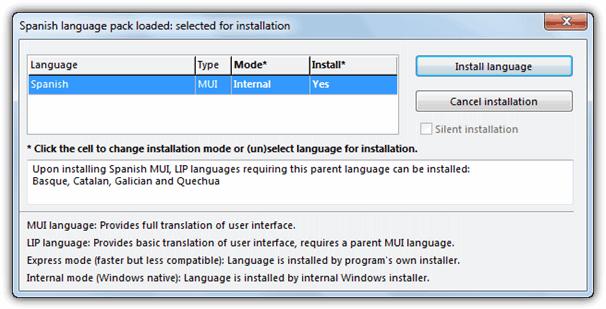 установка языкового пакета с помощью Vistalizator