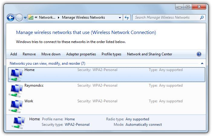 несколько профилей беспроводной сети