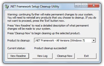 Успешность инструмента очистки .net Framework