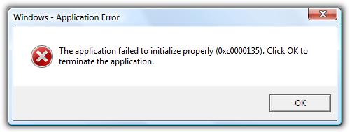 Приложение не удалось правильно инициализировать 0x0000135