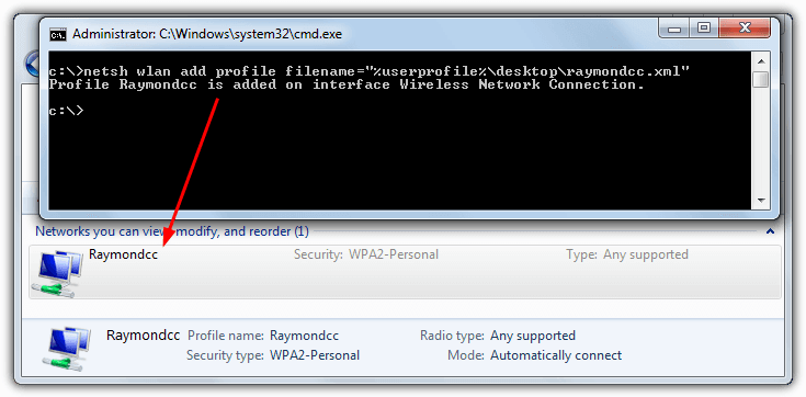 Netsh импорт Wi-Fi профиль