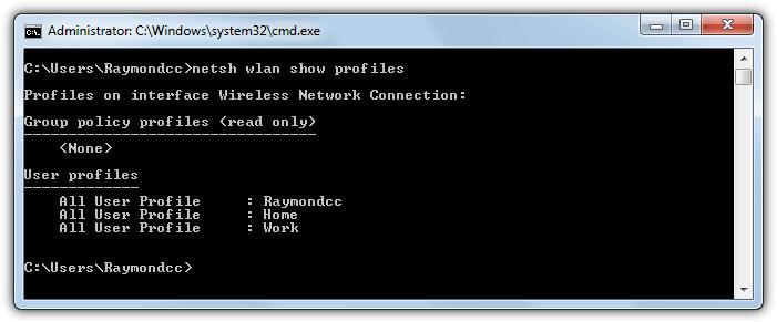 netsh показать профили wifi