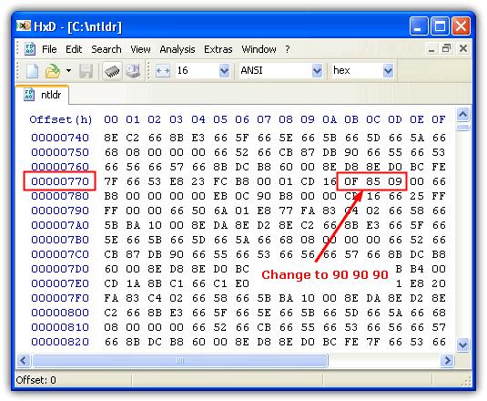 Редактирование NTLDR в шестнадцатеричном редакторе