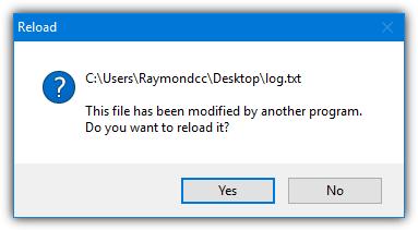 Блокнот перезагрузить измененный файл