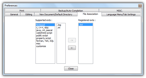 Ассоциация файлов Notepad ++