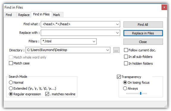 notepadpp найди в файлах regex