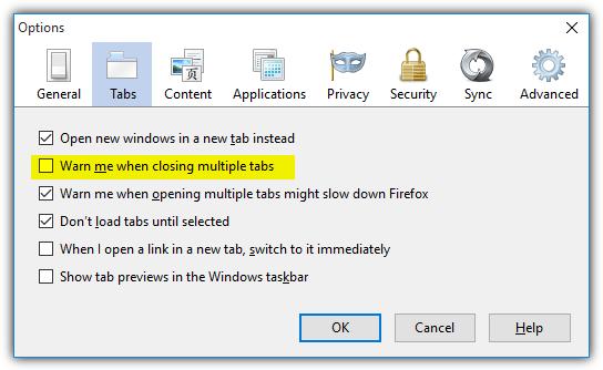 старые опции Firefox предупреждают о закрытии нескольких вкладок
