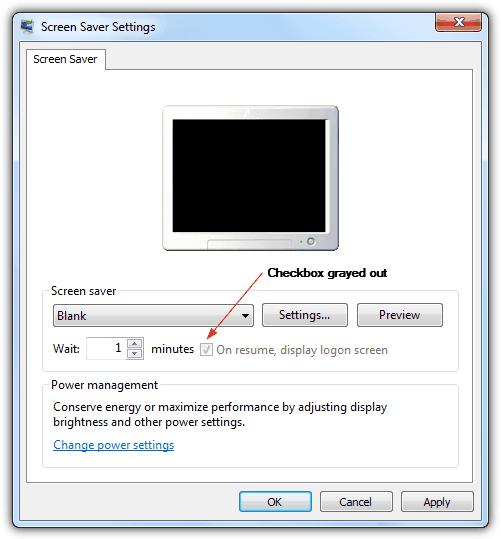 При возобновлении отображения экран входа в систему отображается серым цветом
