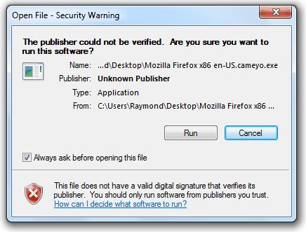 Предупреждение о безопасности открытого файла