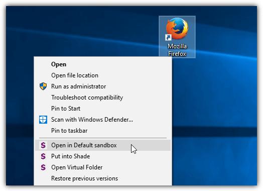 открыть программу в тени