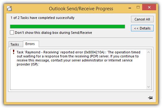 время ожидания ответа от получающего POP-сервера истекло
