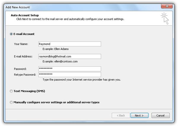 Настройка автоматической учетной записи Outlook