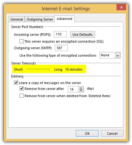 настройка времени ожидания сервера Outlook