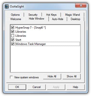 Скрыть окно с OuttaSight