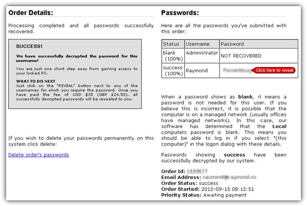 Восстановление пароля успешно