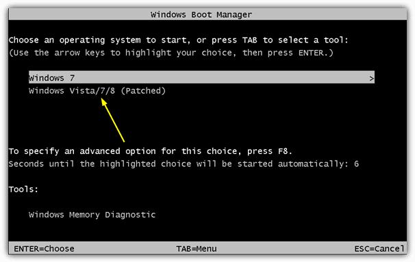 Windows Boot Manager Пропатченное меню