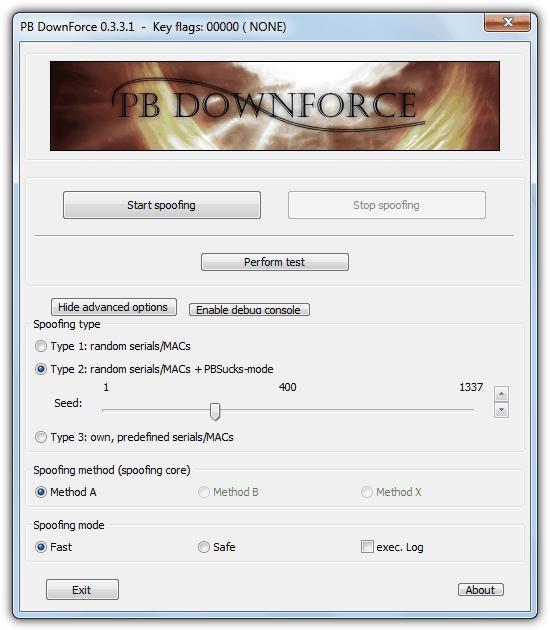 """volumeid """"src ="""" https://img.raymond.cc/blog/wp-content/uploads/2009/04/volumeid.png """"/></p> <p>Формат снова 4 шестнадцатеричных символа, «-» и еще 4 шестнадцатеричных символа. Вы должны закрыть все запущенные приложения перед использованием этого инструмента, и вам потребуется перезагрузить компьютер сразу после изменений, если они вносятся в раздел NTFS.</p> <p><strong>Скачать Sysinternals VolumeID</strong></p> <p>Приведенные выше инструменты хороши для изменения серийного номера тома / раздела, но попытка изменить серийный номер самого жесткого диска – это совсем другая история. Они жестко запрограммированы в самом жестком диске и не могут быть просто отредактированы или изменены с помощью программного обеспечения. Однако существует несколько инструментов, которые могут временно подделать встроенный серийный номер жесткого диска, который, мы надеемся, может обмануть любое программное обеспечение, которое вы пытаетесь обойти. К сожалению, многие из этих инструментов не являются бесплатными, а некоторые даже приближаются к 100 долларам, чтобы купить.</p> <p>3. <strong>PB DownForce</strong></p> <p>Существует бесплатный инструмент, который давно существует под названием PB DownForce, который способен временно подменять статический серийный номер вашего жесткого диска на другое случайное или засеянное число. Существует также возможность установить собственный предварительно заданный серийный номер, хотя мы не смогли заставить эту функцию работать во время тестирования. Чтобы использовать программу в ее самой простой форме, все, что вам нужно сделать, это запустить ее и нажать кнопку «Начать подделку». Обязательно запустите PB DownForce от имени администратора.</p> <p><img width="""