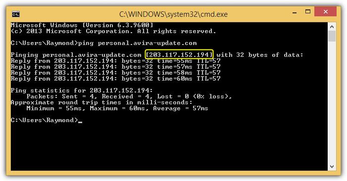 ping сервер обновлений avira