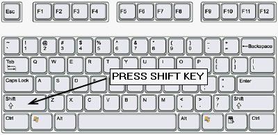 Клавиша SHIFT для отключения автозапуска