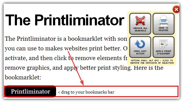 панель инструментов Printliminator и поле
