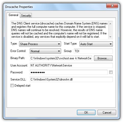 Свойства служб Process Hacker