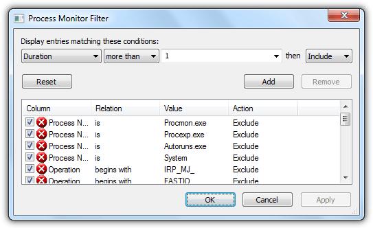 фильтр монитора процесса
