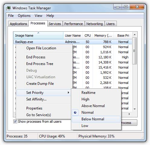 Диспетчер задач Windows устанавливает приоритет