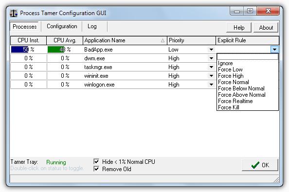 Графический интерфейс настройки Process Tamer