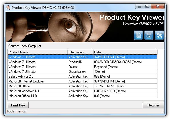 Просмотр ключа продукта