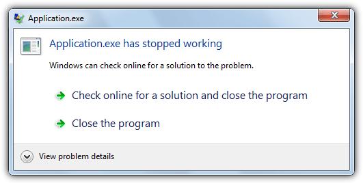 программа перестала работать сообщение об ошибке