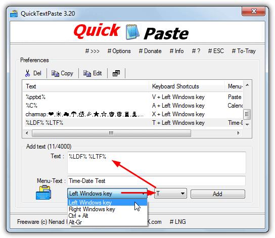 команда добавления quicktextpaste